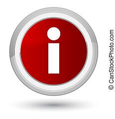 Info icon prime red round button