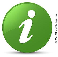 Info icon soft green round button