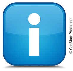 Info icon special cyan blue square button