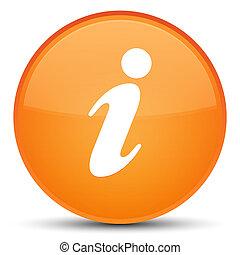 Info icon special orange round button