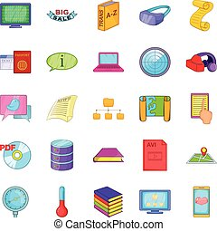 Info icons set, cartoon style - Info icons set. Cartoon set...