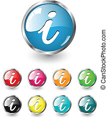 Information, info icon, button multicolored vector set