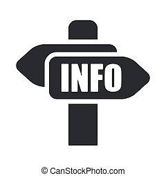 info, isolerat, illustration, singel, vektor, cartel, ikon