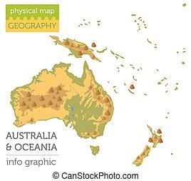 info, kaart, grafisch, oceanië, elements., verzameling, australië, bouwen, eigen, lichamelijk, jouw, aardrijkskunde