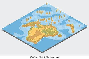 info, kaart, isometric, australië, lichamelijk, oceanië, elements., verzameling, grafisch, bouwen, eigen, 3d, jouw, aardrijkskunde