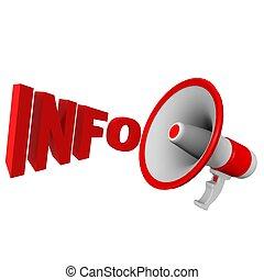 info, megafoon, rood