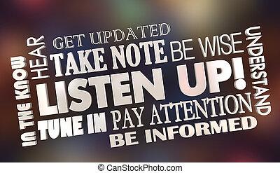 info, palavra, adquira, colagem, pagar, atenção, cima, ilustração, escutar, 3d