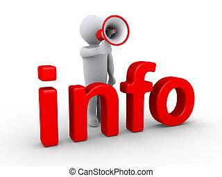 info, person, hinten, megaphon