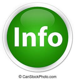 Info premium green round button