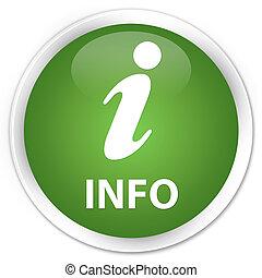 Info premium soft green round button
