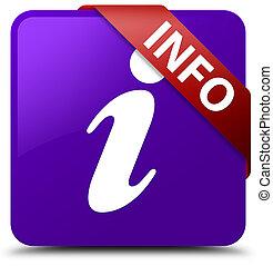 Info purple square button red ribbon in corner