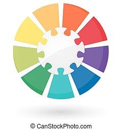 info, puzzel, grafik, zentrieren, teil