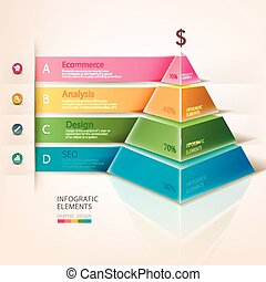 info, pyramid, färgad, grafik