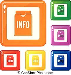 info, satz, heiligenbilder, farbe, vektor, büroordner