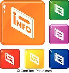 info, satz, heiligenbilder, farbe, vektor, markt