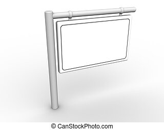 3d rendered image of a blank sign. Fill this out with your own text or graphics.