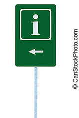 Info sign in green, white i letter icon and frame, left hand