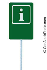 Info sign in green, white i letter icon and frame, blank empty