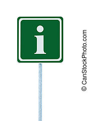 Info sign in green, white i letter icon and frame, isolated