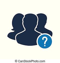 info, symbol, frage, wie, hilfe, zu, mannschaft, frage, mark., ikone