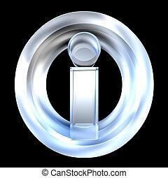 info symbol in glass (3d)