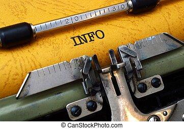 info, text, på, skrivmaskin