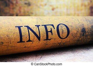 info, text, papier, grunge