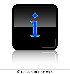 Info web icon - Info - Black and blue glossy web icon