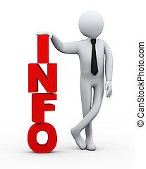 info, zakenman, presentatie, woord, 3d