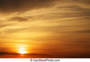 infocato, tramonto, arancia, sky., bello