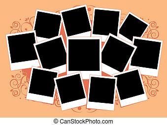 infoga, bild, collage, ram, photos., template., din