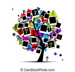 infoga, bild, minnen, träd, din, fotografi inramar, design
