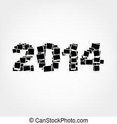 infoga, foto, 2014, år, inramar, färsk, din, kort