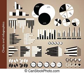 infograp, branca, pretas, gráficos