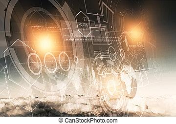 infograph, conceito, tecnologia, inovação