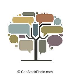 infographic, árvore, conceito, arte, bordas