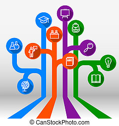 infographic, árvore, conhecimento