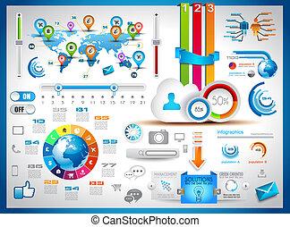 infographic, éléments, -, ensemble, de, papier, étiquettes