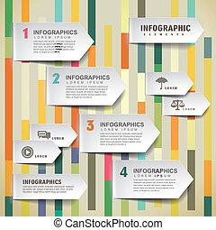 infographic, éléments, flèche, papier, vecteur, onglet