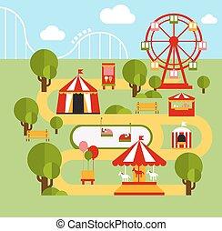infographic, éléments, parc, amusement