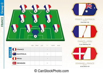 infographic, équipe, football, tournament., france