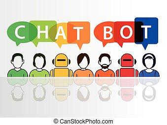 infographic, értelem, chatbot, fogalom, mesterséges