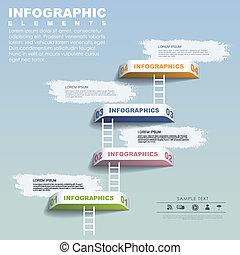 infographic, étape, concept, éléments, gabarit