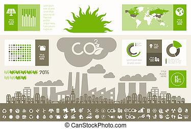 infographic, ökológia, template.