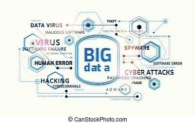 infographic, γενική ιδέα , μεγάλος , - , δεδομένα , μικροβιοφορέας , φόντο , ασφάλεια , τεχνολογία