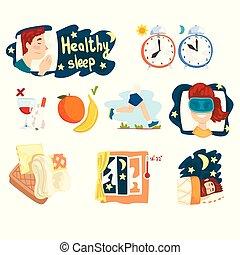 infographic, διαμέρισμα , θέτω , υγιεινός , αφίσα , απάτη , γραφικός , γελοιογραφία , παρουσίαση , μικροβιοφορέας , σχεδιάζω , άγγιγμα , sleep., σημαία , ή , στοιχεία