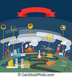 infographic, οικολογία , βιομηχανικός , μοντέρνος , φόρμα