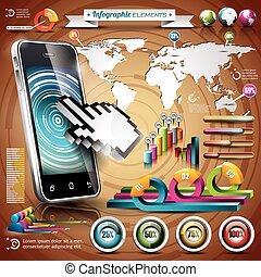 infographic, χάρτηs , θέτω , illustration., elements., πληροφορία , eps , μικροβιοφορέας , σχεδιάζω , κόσμοs , graphics., τεχνολογία , 10