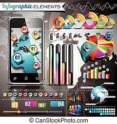 infographic, χάρτηs , κόσμοs , θέτω , elements., πληροφορία , κινητός , eps , εικόνα , μικροβιοφορέας , τηλέφωνο. , graphics , σχεδιάζω , 10