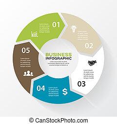 infographic., תרשים, מושג, processes., עסק, חלקים, תקציר,...